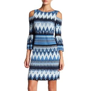 NWT Eliza J Cold Shoulder Zigzag Sheath Dress